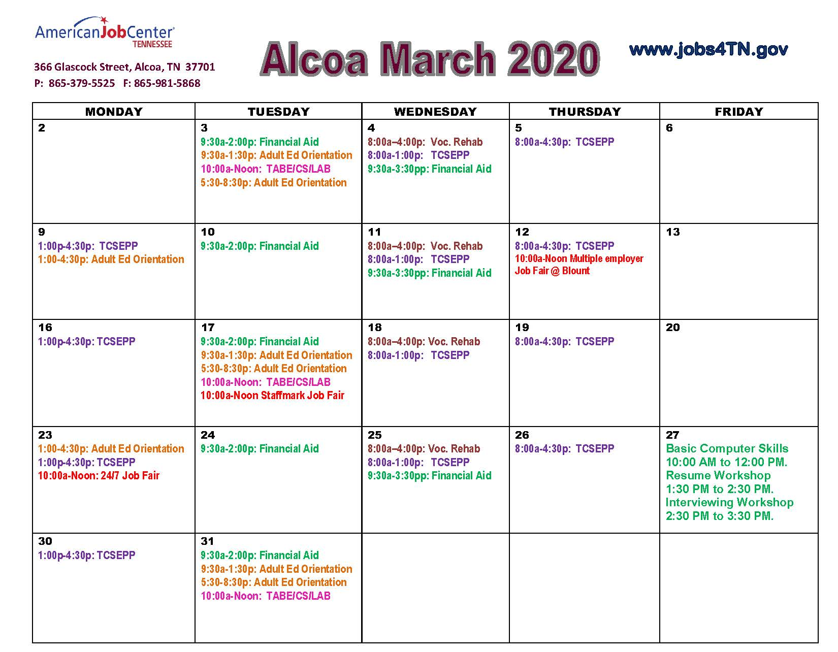 Alcoa AJC Workshops/Events