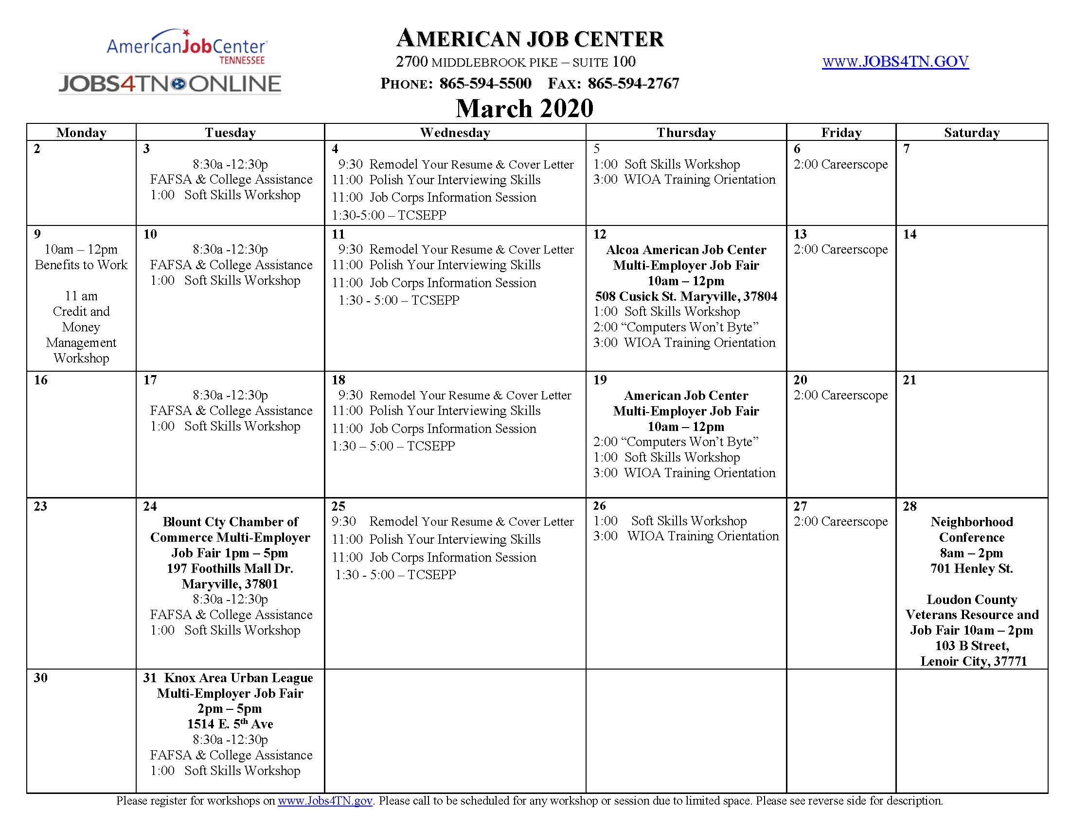 Knoxville AJC Workshops/Events