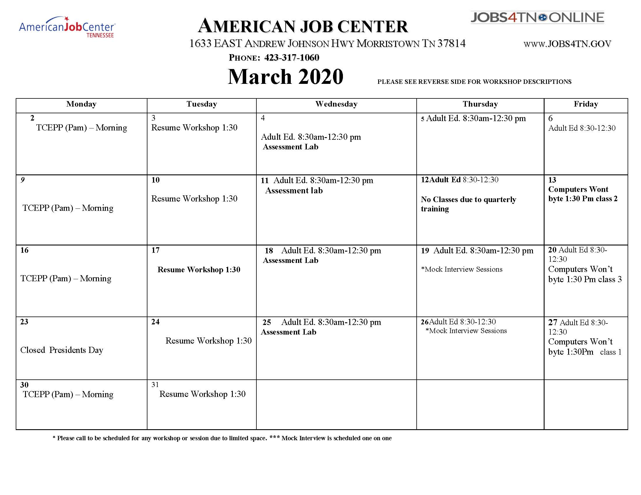 Morristown AJC Workshops/Events