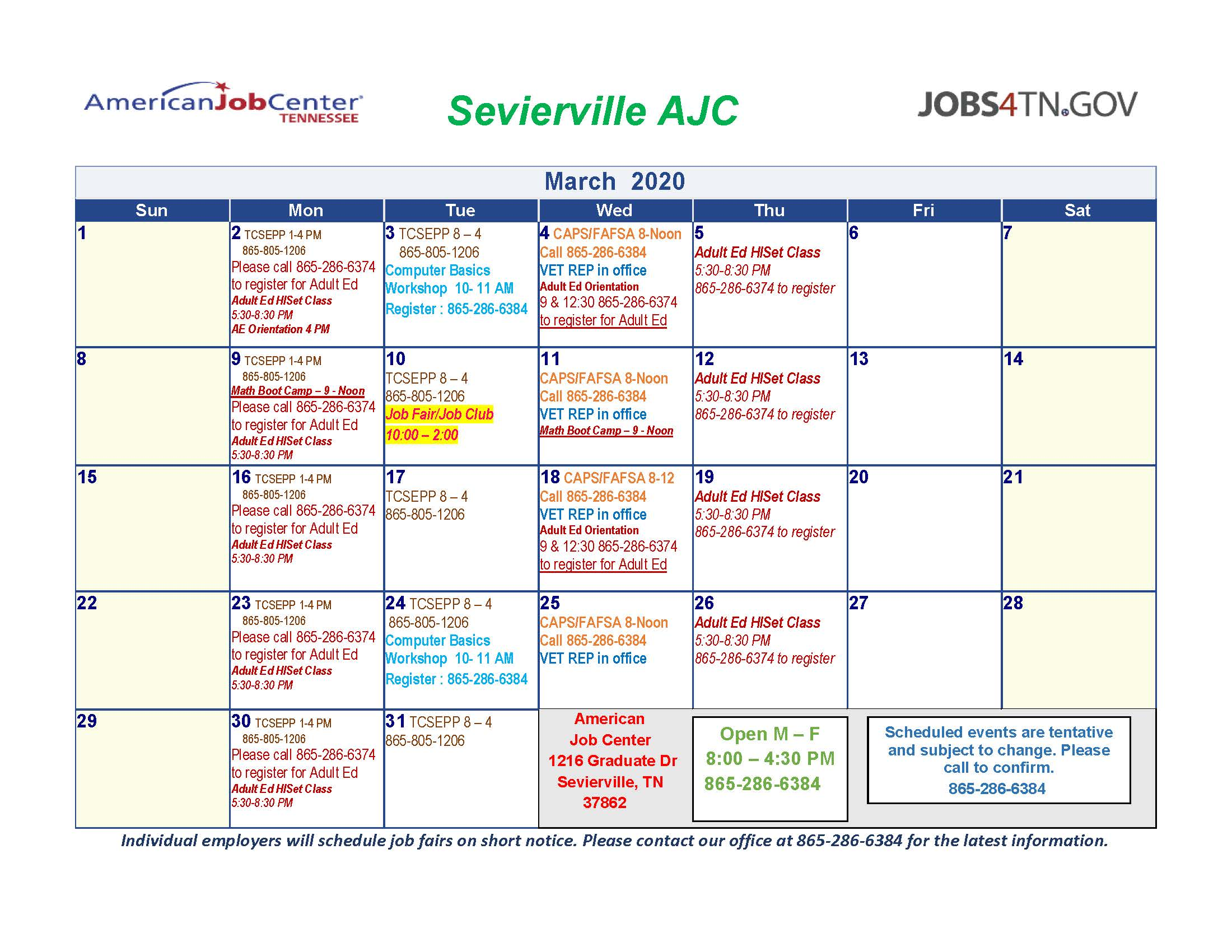 Sevierville AJC Workshops/Events